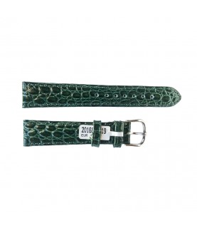 Croco pattern leather strap for watches in green color 18 mm silver tone buckle