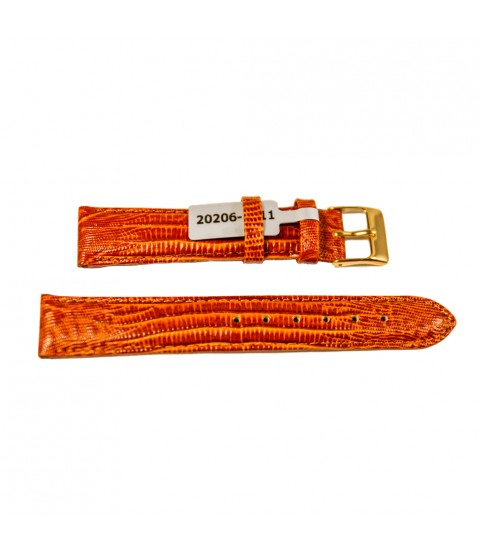 Teju Lizard leather strap for watches in golden-brown 18 mm gold tone buckle