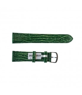 Teju Lizard leather strap for watches in green color 20 mm silver tone buckle