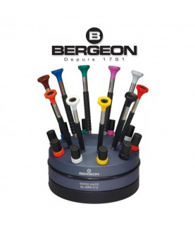 Bergeon 6899-S10 set of 10 ergonomic screwdrivers with spare blades on a rotating base