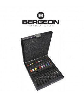 Bergeon 6899-A10 set of 10 ergonomic screwdrivers in a wooden case