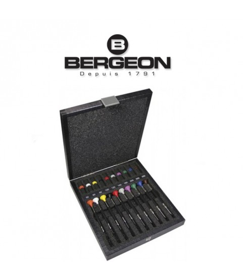 Bergeon 6899-A10 set of 10 ergonomic screwdrivers in a wooden case