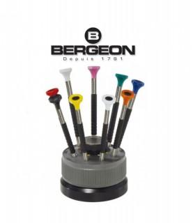 Bergeon 6899-S09 Ergonomic Screwdrivers on a Rotating Base Swiss Tool