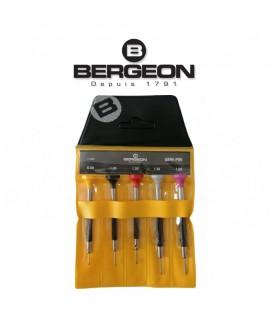 Bergeon 6899-P05 Set Of 5 watchmakers ergonomic screwdrivers