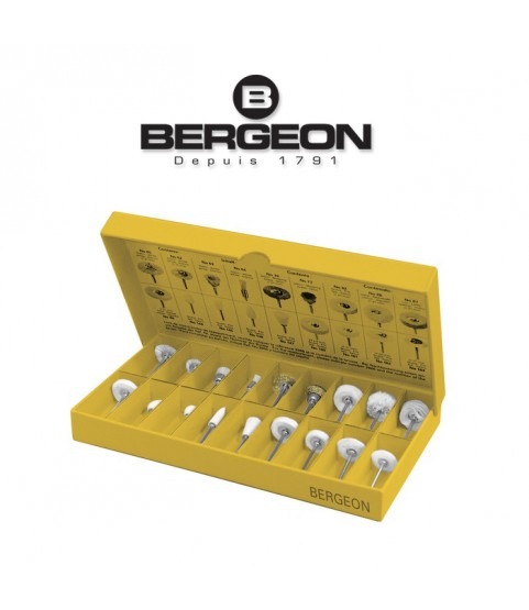 Bergeon 2686 assortment of 18 small brushes for polishing