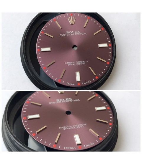 Rolex Oyster Perpetual 114300 red grape dial 39mm