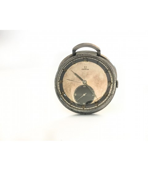 Military Omega pocket watch with frame and two tone dial