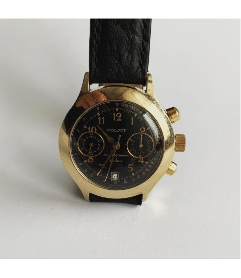 Poljot Chronograph watch 3133 black dial men watch 23 jewels