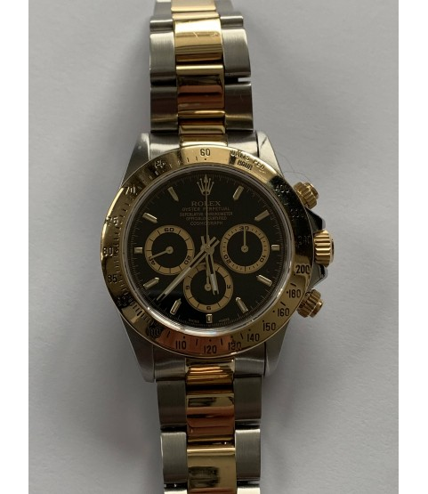 Rolex Daytona 16523 stainless steel and gold watch black dial Zenith 1997