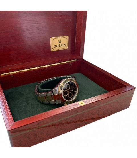 Rolex Daytona 16523 stainless steel and gold watch black dial Zenith 1997 with box