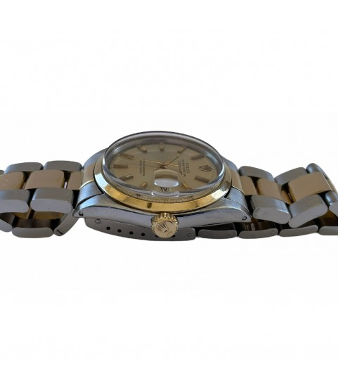 Vintage Rolex Datejust 1600 unisex watch steel and gold from 1970s