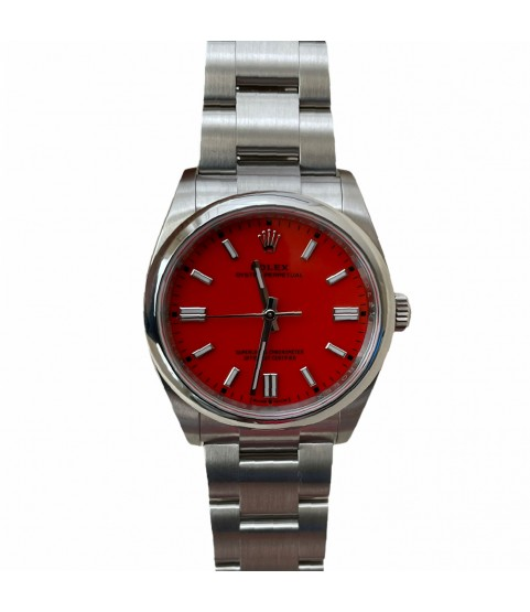 New Rolex 126000 Oyster Perpetual unisex watch red coral dial