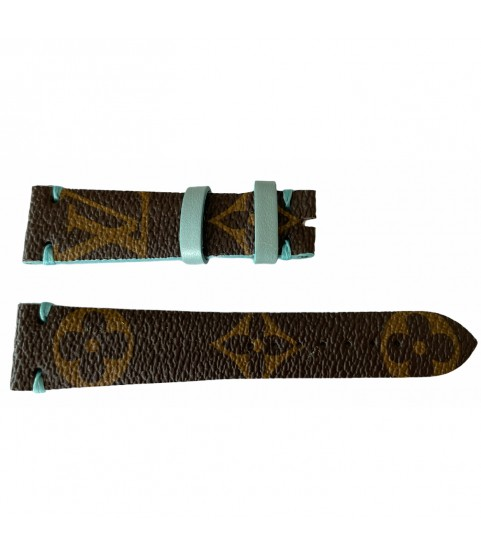 Louis Vuitton monogram leather strap for watches brown & tiffany 20mm