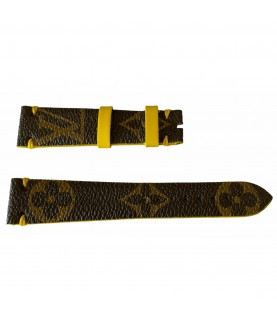 Louis Vuitton monogram leather strap for watches brown & yellow 20mm