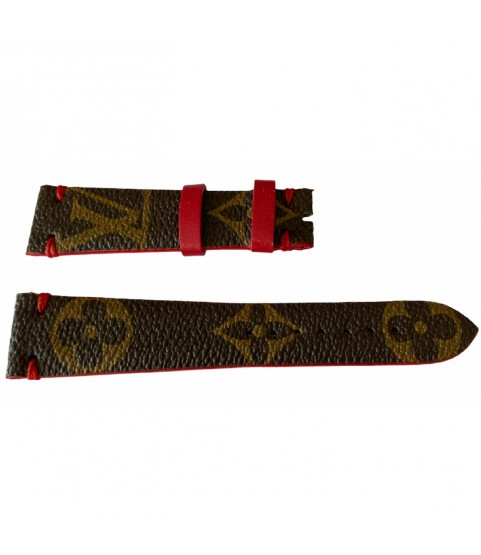 Louis Vuitton monogram leather strap for watches brown & red 20mm