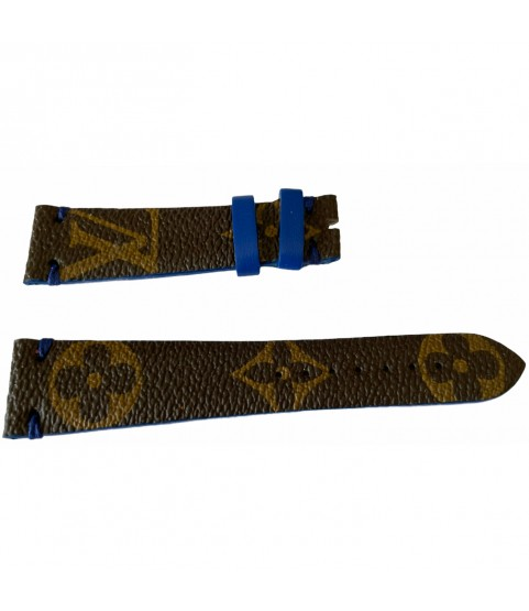 Louis Vuitton monogram leather strap for watches brown & blue 20mm