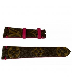 Louis Vuitton monogram leather strap for watches brown & pink 20mm