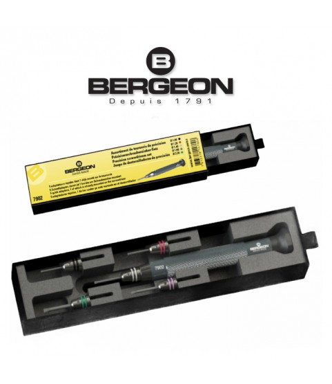 Bergeon 7902 precision screwdrivers with 5 quick adapters