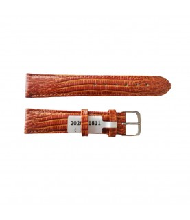 Teju Lizard leather strap for watches in golden-brown 18 mm silver tone buckle
