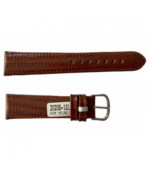 Teju Lizard leather strap for watches in brown 18 mm silver tone buckle