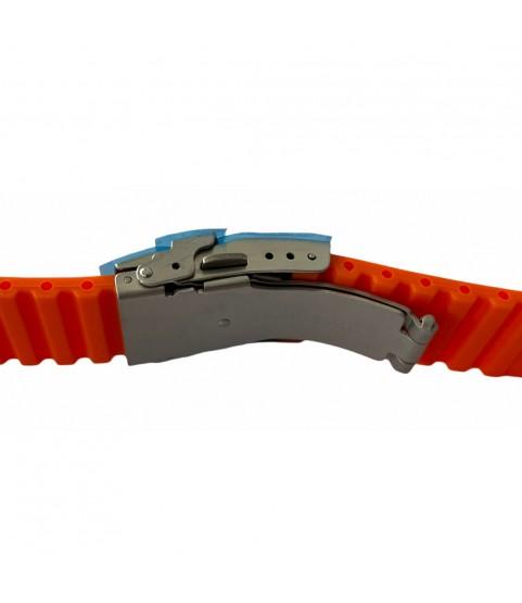 Buzzufy silicone orange chrono watch strap with clasp 20mm