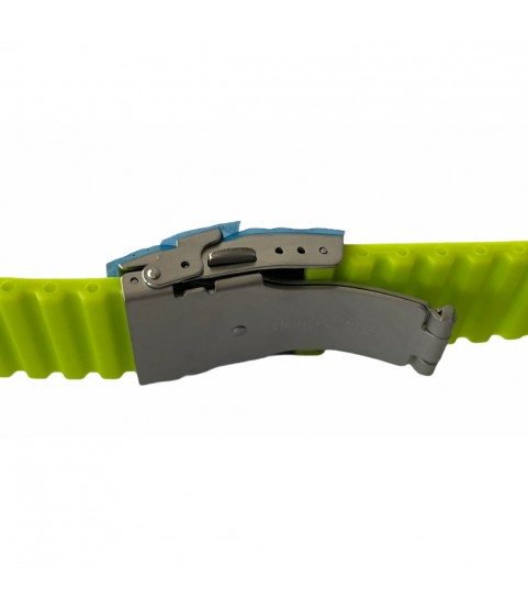 Buzzufy silicone neon green chrono watch strap with clasp 20mm