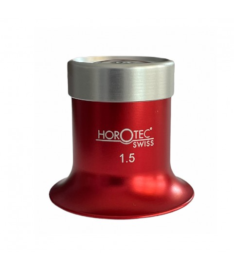 Horotec MSA 00.031-1.5 eyeglass loupe in aluminium anodised red with screwed ring x6.5