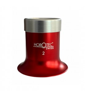 Horotec MSA 00.031-2 eyeglass loupe in aluminium anodised red with screwed ring x5