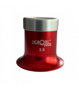 Horotec MSA 00.031-3 eyeglass loupe in aluminium anodised red with screwed ring x3.5
