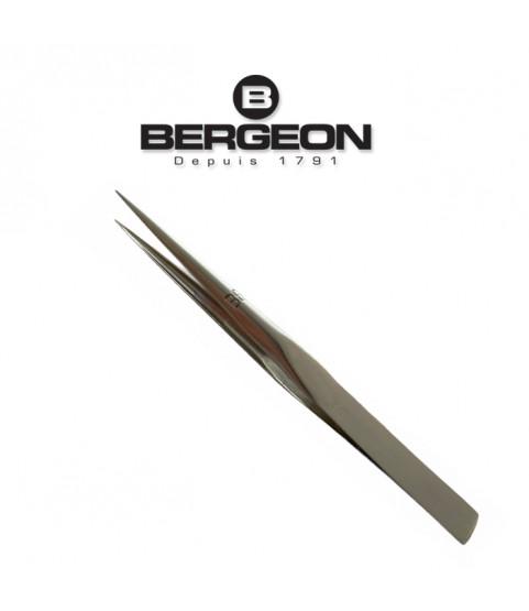 Bergeon 1055-BB nickelled steel grooved points tweezers 120mm