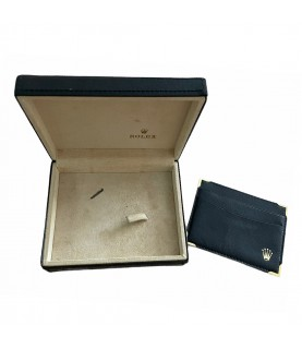 Vintage Rolex Cellini black leather box with card holder 49.00.71