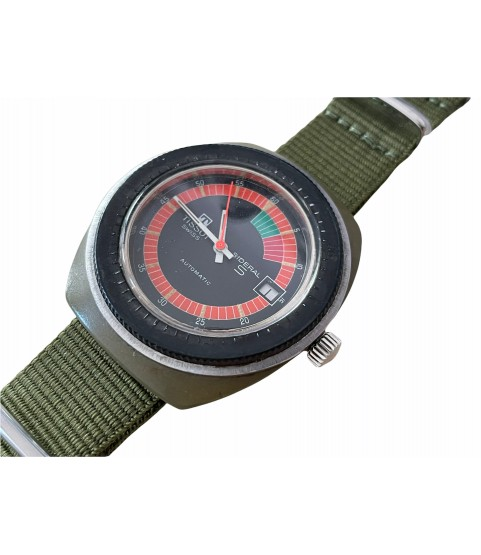 Vintage automatic Tissot Sideral S green fibreglass watch 1970s