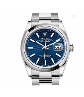 New Rolex Datejust 126200 Oyster unisex watch with bright blue, fluted motif dial 2021