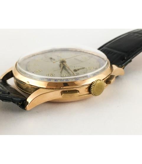 Vintage Breitling Cadette 18K Gold Chronograph Watch with Venus 188