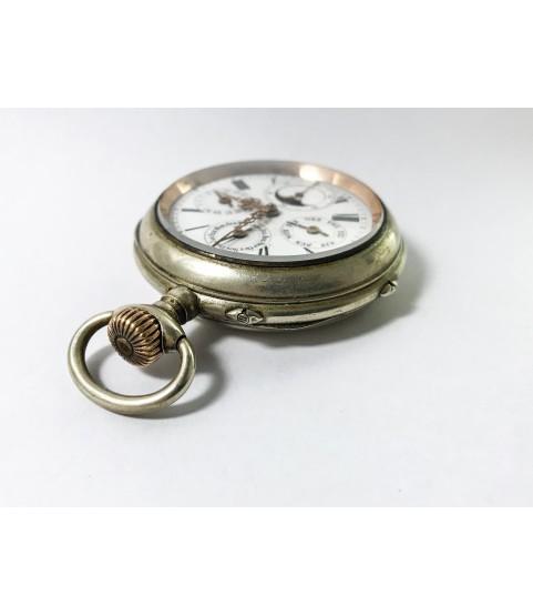 Antique Pocket Watch Triple Moon Phase Calendar Big 51 mm