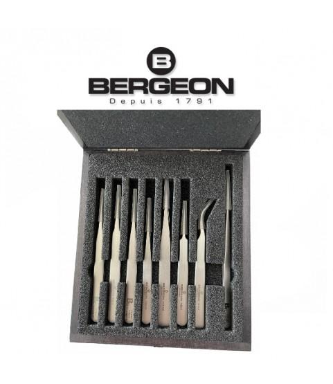 Bergeon 7026 set of 8 antimagnetic tweezers in wooden box