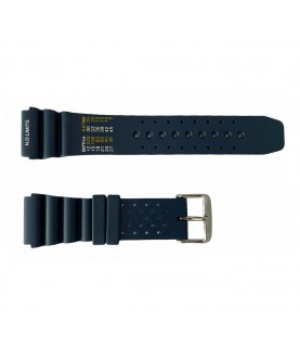 Blue rubber diver watch strap with decompression table and stainless steel buckle 20 mm, 22 mm