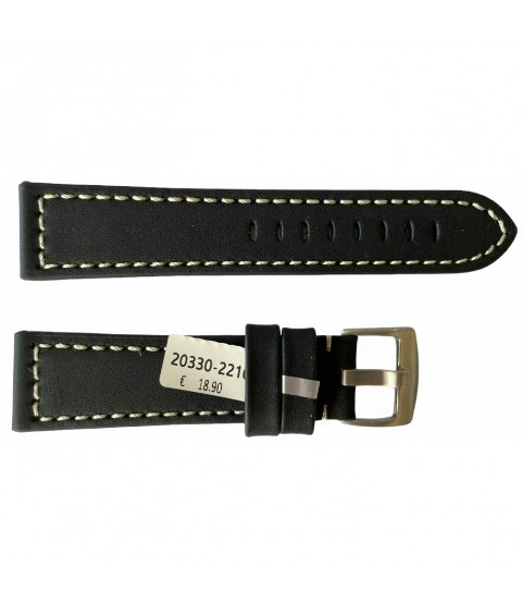 Leather black strap with white engraved thread smooth for watches 22mm