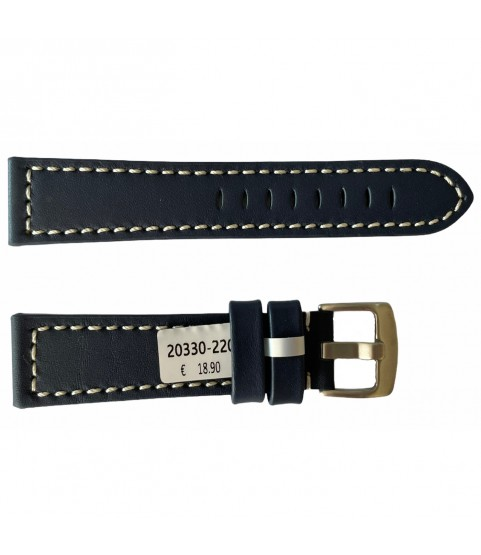 Leather blue strap with white engraved thread smooth for watches 22mm