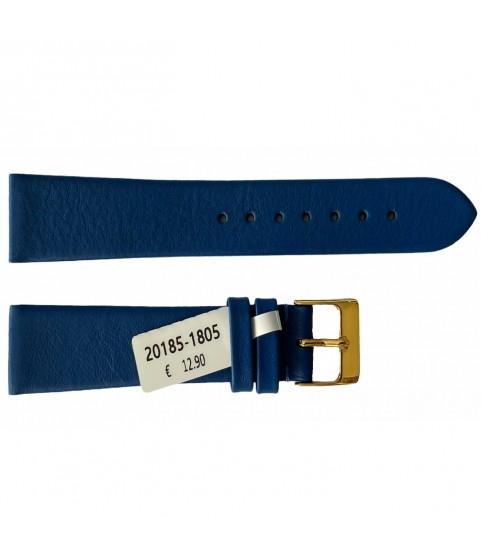 Leather waterproof blue smooth strap for watches 18mm