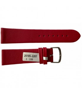 Leather waterproof red smooth strap for watches 22mm