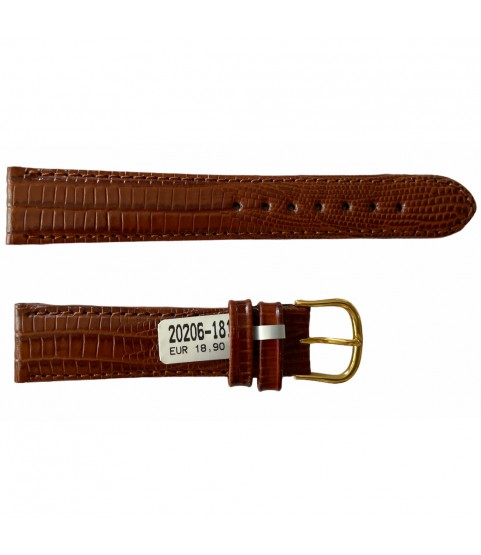 Teju Lizard leather strap for watches in brown 18 mm gold tone buckle