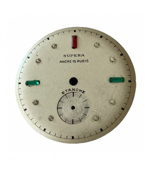 Vintage Supera watch dial with rubies 27.85mm